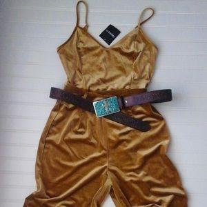 "Pants - Mustard Gold Velvet Jumpsuit ""NWT"""